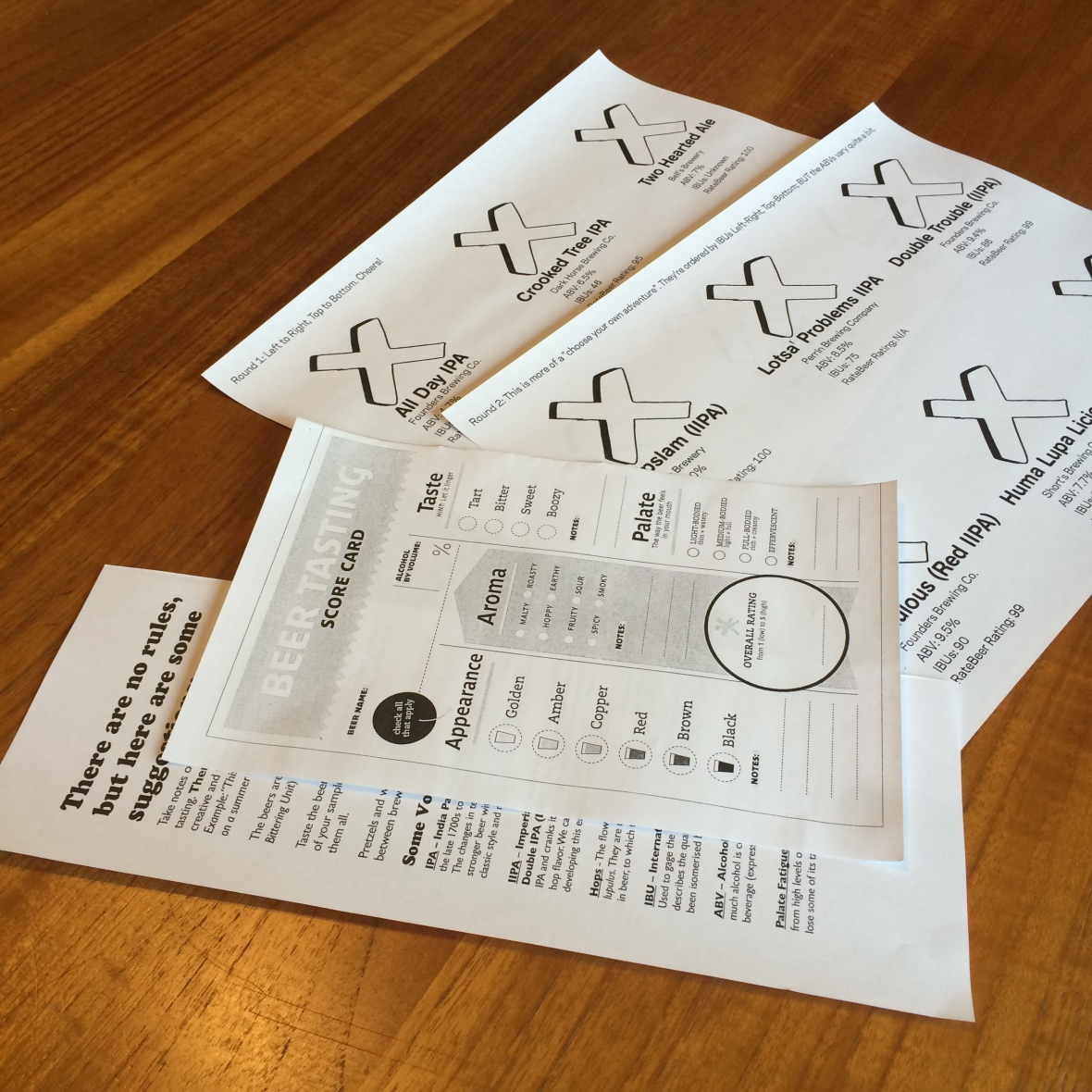 An photo of a beer tasting scorecard, some beer tasting tips, and a mat for beer flights.