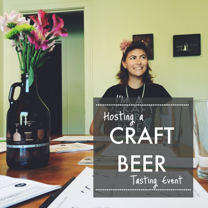 "A picture of Amy from Polka Dots and Pints sitting a table with beer tasting mats and a growler vase full of flowers with the text ""Hosting a Craft Beer Tasting Event."""