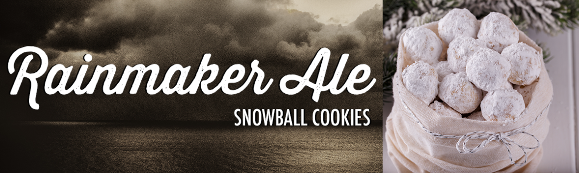 An image listing Rainmaker Ale from Stormcloud Brewing Co. as a good beer pairing for snowball cookies.