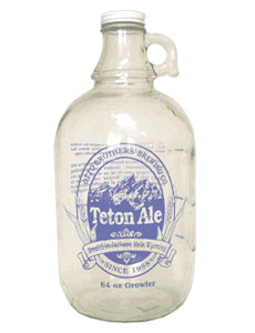 A photo of the original modern glass growler, created by Charlie Otto of Otto Brothers Brewery (now Grand Teton Brewing.)