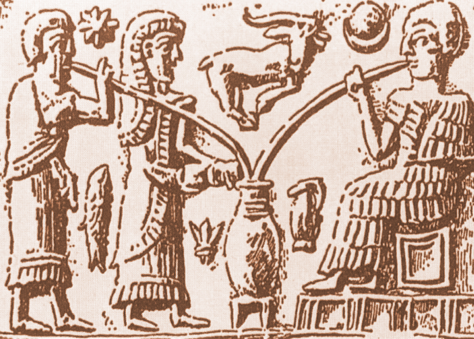 Image of Sumerian beer wallowers with straws, depiction about 3000 b.c., today part of the collection of the Vorderasiatischen Museums Berlin
