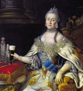 Painting of Russian Empress Catherine II (Catherine the Great) holding a beer.