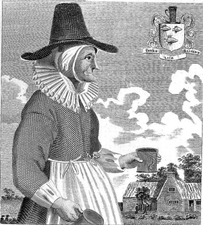 Drawing of Mother Louse, oxfordshire alewife. She's wearing a tall hat and has the face of what we would say looks like a witch.