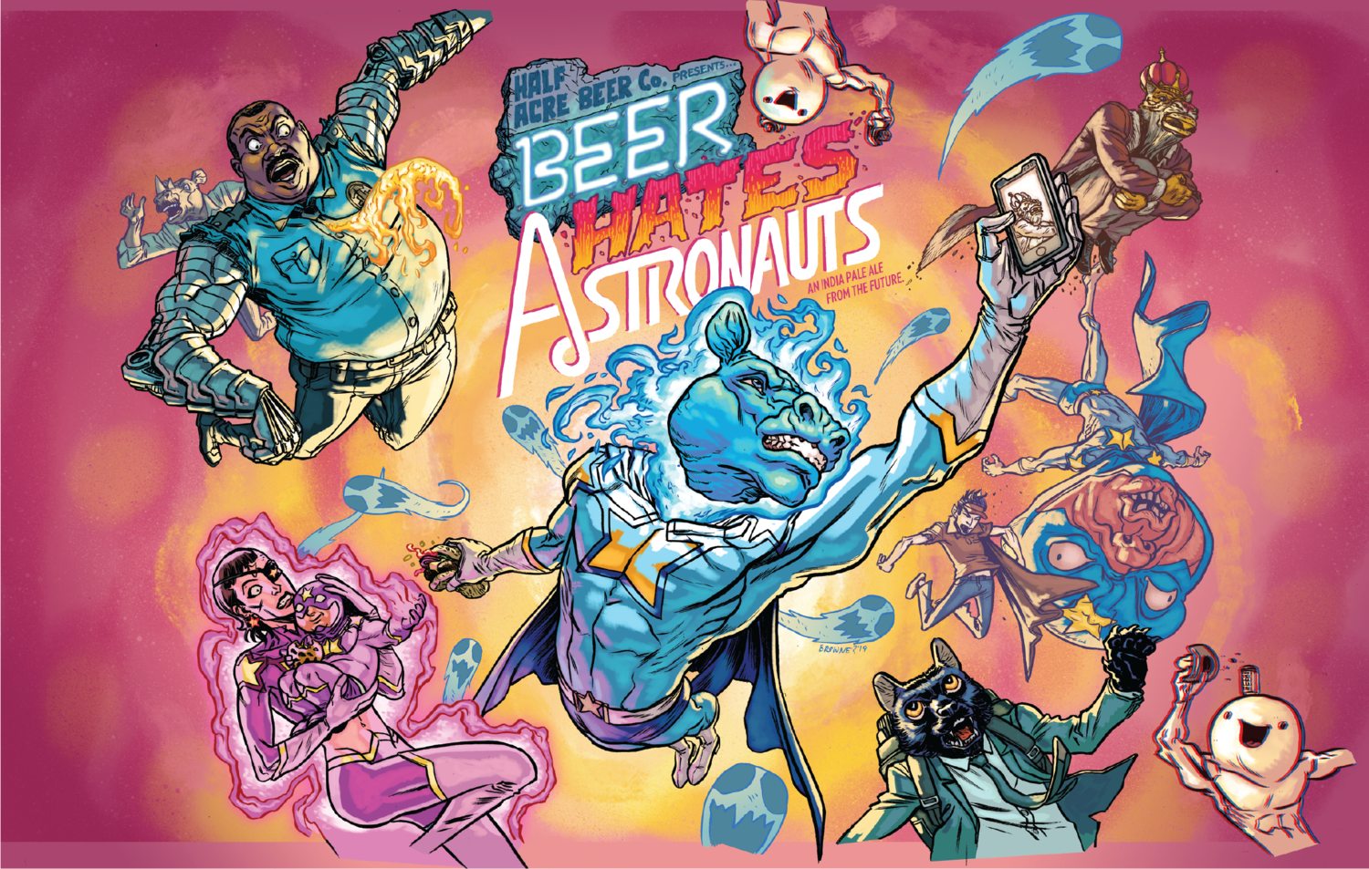 The label for Beer Hates Astronauts made by Half Acre Brewing