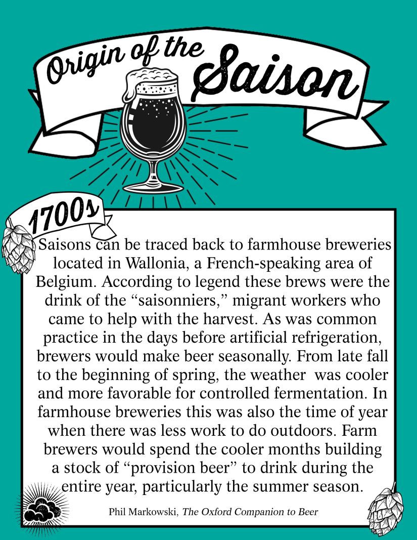 A graphic describing the origin of the saison beer style. This is an excerpt from The Oxford Companion to Beer written by Phil Markowski.
