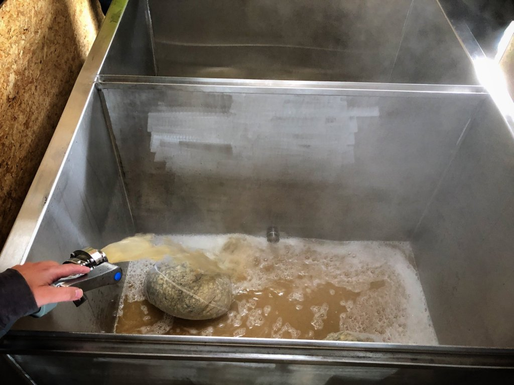 Filling a coolship with wort.